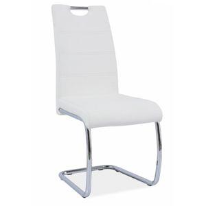 TEMPO KONDELA Abira jedálenská stolička biela / chrómová