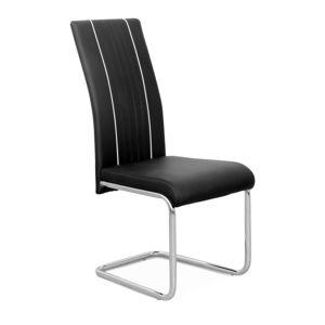 TEMPO KONDELA Lesana jedálenská stolička čierna / chrómová