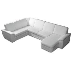 TEMPO KONDELA Biter U P rohová sedačka u s rozkladom a úložným priestorom biela