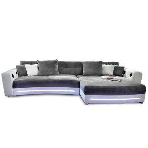 TEMPO KONDELA Luxlaredo L/P rohová sedačka s osvetlením biela / sivá