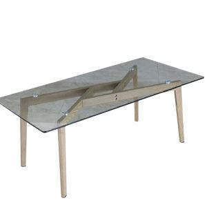 TEMPO KONDELA Pedrek Typ 2 sklenený konferenčný stolík priehľadná / buk