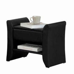 TEMPO KONDELA Bolton čalúnený nočný stolík čierna