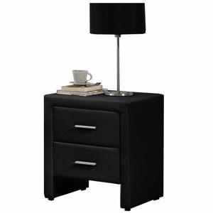 TEMPO KONDELA Castel čalúnený nočný stolík čierna