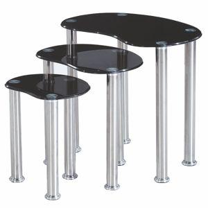 TEMPO KONDELA Norman sklenený konferenčný stolík (3 ks) čierna / oceľ