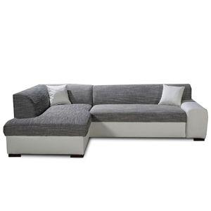 TEMPO KONDELA Minerva L rohová sedačka s rozkladom a úložným priestorom biela / sivá melírovaná