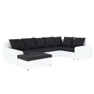 TEMPO KONDELA Joy L/P rohová sedačka u s rozkladom biela / sivočierna