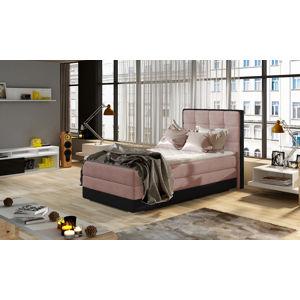 NABBI Alessandra 90 L čalúnená jednolôžková posteľ ružová / čierna