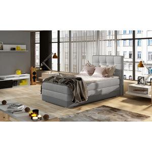 NABBI Alessandra 90 L čalúnená jednolôžková posteľ svetlosivá (Sawana 21) / sivá (Soft 29)