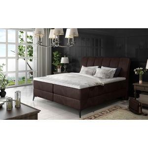 NABBI Altama 140 čalúnená manželská posteľ s úložným priestorom tmavohnedá