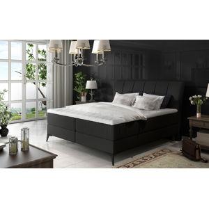 NABBI Altama 180 čalúnená manželská posteľ s úložným priestorom čierna (Soft 11)