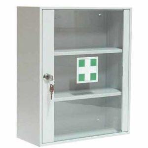 NABBI AP2/S kovová skrinka na lekárničku so sklom svetlosivá