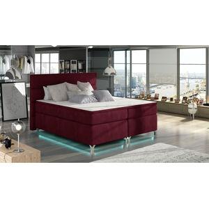 NABBI Avellino 140 čalúnená manželská posteľ s úložným priestorom bordová