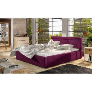 NABBI Branco UP 200 čalúnená manželská posteľ s roštom vínová