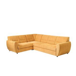 BLACK RED WHITE Algarve L rohová sedačka s rozkladom a úložným priestorom žltá