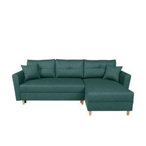 BLACK RED WHITE Aradena Lux L/P rohová sedačka s rozkladom zelená / drevo (TX002)