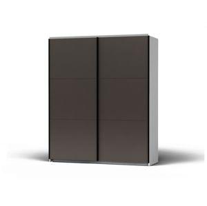 BLACK RED WHITE Colin 183 šatníková skriňa s posuvnými dverami biela / sivá