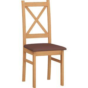 MEBLOCROSS D jedálenská stolička jelša / hnedá ekokoža