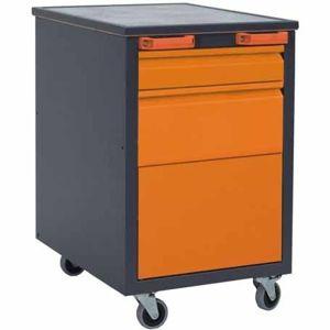 NABBI E1 mobilný kontajner k pracovnému stolu na kolieskach grafit / oranžová