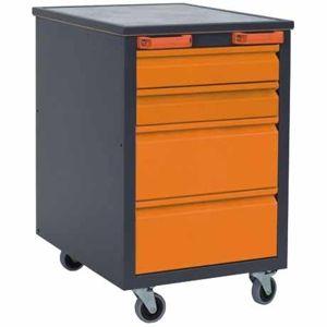 NABBI H1 mobilný kontajner k pracovnému stolu na kolieskach grafit / oranžová