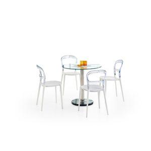 HALMAR Cyryl sklenený jedálenský stôl priehľadná / chrómová