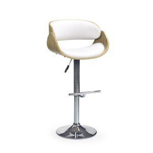 HALMAR H-43 barová stolička dub svetlý / biela / chróm