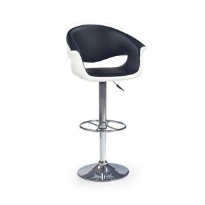 HALMAR H-46 barová stolička čierna / biela / chróm