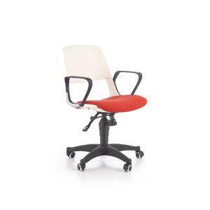 HALMAR Jumbo detská stolička na kolieskach s podrúčkami biela / červená