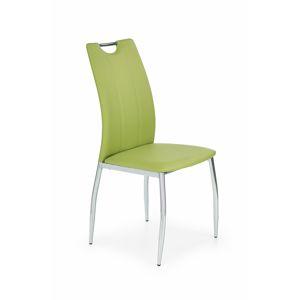 HALMAR K187 jedálenská stolička zelená / chróm