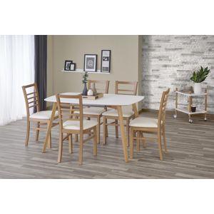 HALMAR Kajetan 135/185 rozkladací jedálenský stôl biely lesk / dub medový
