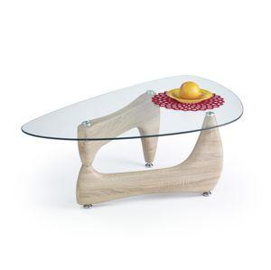 HALMAR Karen sklenený konferenčný stolík dub sonoma / priehľadná