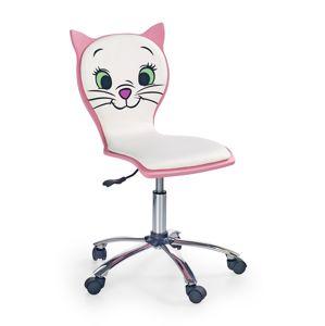 HALMAR Kitty 2 detská stolička na kolieskach ružová / biela