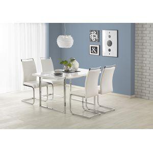 HALMAR Lion jedálenský stôl biely lesk / chróm