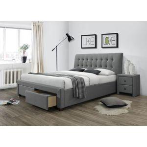 HALMAR Percy 160 čalúnená manželská posteľ s roštom sivá