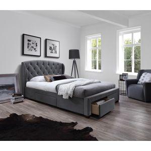 HALMAR Sabrina 160 čalúnená manželská posteľ s roštom sivá
