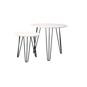 TEMPO KONDELA Holden okrúhly príručný stolík (2 ks) biela / čierna