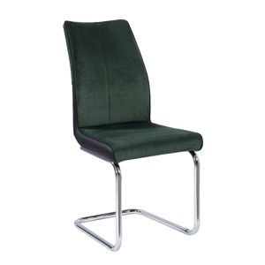 TEMPO KONDELA Farula jedálenská stolička smaragdová / čierna / chróm