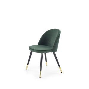 HALMAR K315 jedálenská stolička tmavozelená / čierna / zlatá