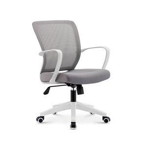 TEMPO KONDELA Glam kancelárska stolička s podrúčkami sivá / biela