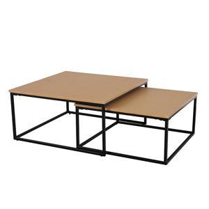 TEMPO KONDELA Kastler konferenčný stolík (2 ks) buk / čierna