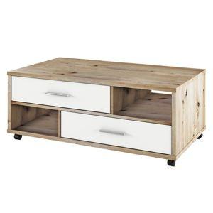 TEMPO KONDELA Desire konferenčný stolík na kolieskach dub artisan / biela
