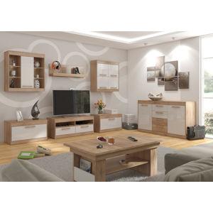 MEBLOCROSS Maximus obývacia izba sonoma svetlá / biely lesk