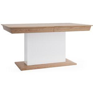 TARANKO Aspen AS-S1 rozkladací jedálenský stôl biely vysoký lesk / dub (Grande 01)