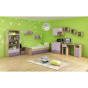 MEBLOCROSS Kitty 1 detská izba sonoma svetlá / levanduľa / fialová