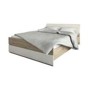 NABBI Leksand 160-L manželská posteľ dub wellington / biela