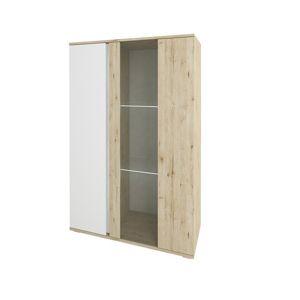 TEMPO KONDELA Leira 1D1W nízka vitrína dub wellington / biela