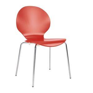 NOWY STYL Cafe VI jedálenská stolička červená (U321) / chrómová