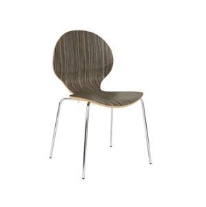 NOWY STYL Cafe VI jedálenská stolička hnedo-béžová (H3005) / chrómová