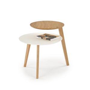 HALMAR Cascada okrúhly príručný stolík biela / dub zlatý