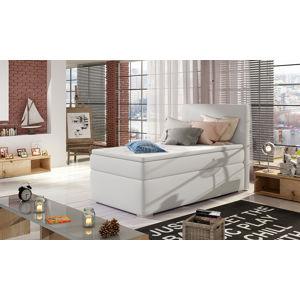 NABBI Rodrigo 90 L čalúnená jednolôžková posteľ s úložným priestorom biela