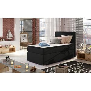 NABBI Rodrigo 90 L čalúnená jednolôžková posteľ s úložným priestorom čierna (Sawana 14)